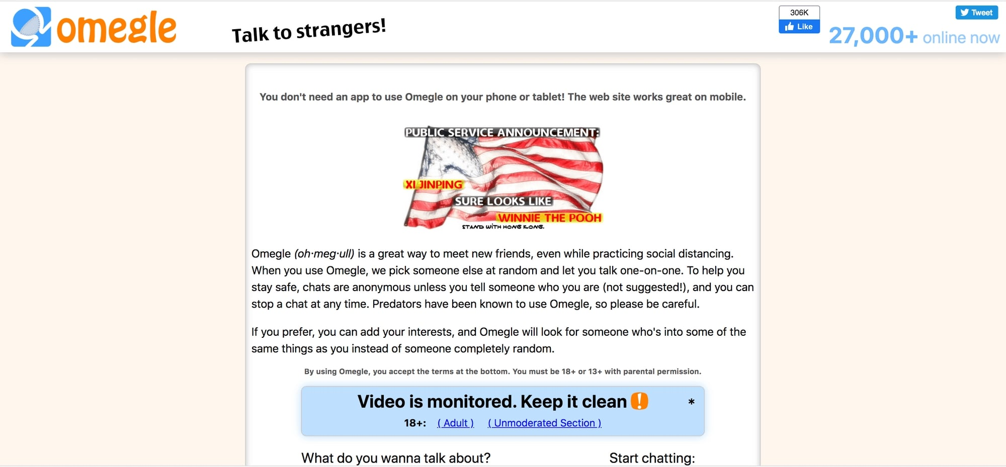 Omegle Random Chat Site Home