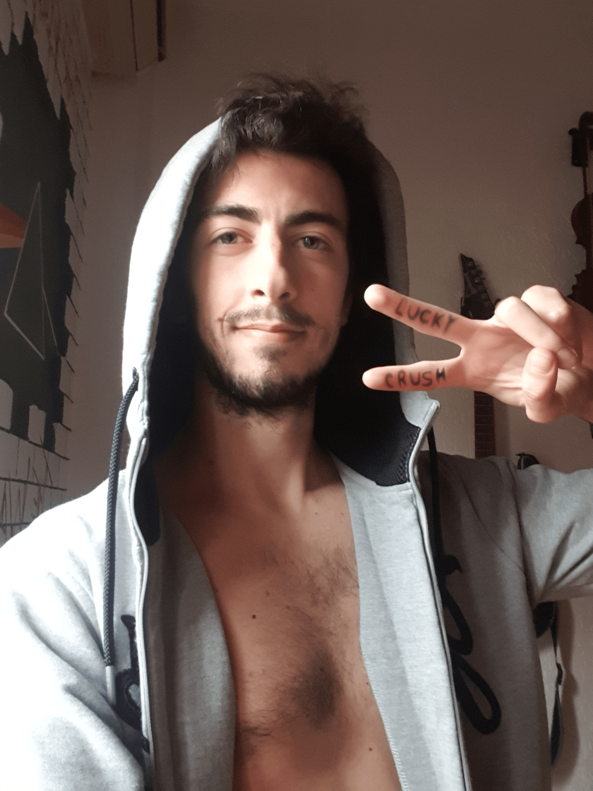 sexy man with hoodie luckycrush video chat